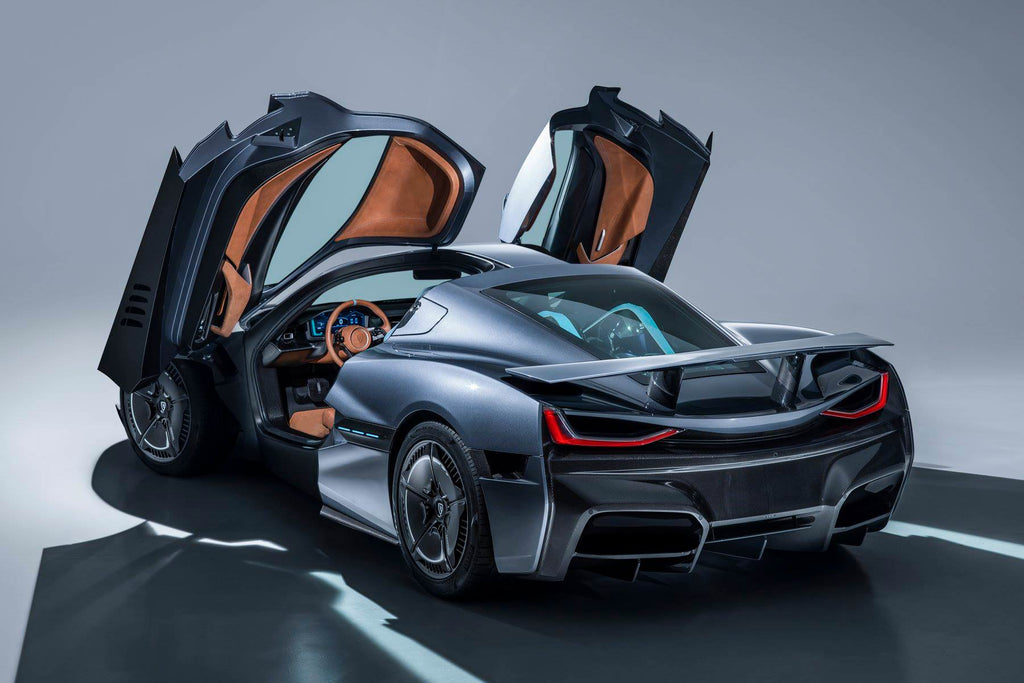 rimac concept two gullwing doors open