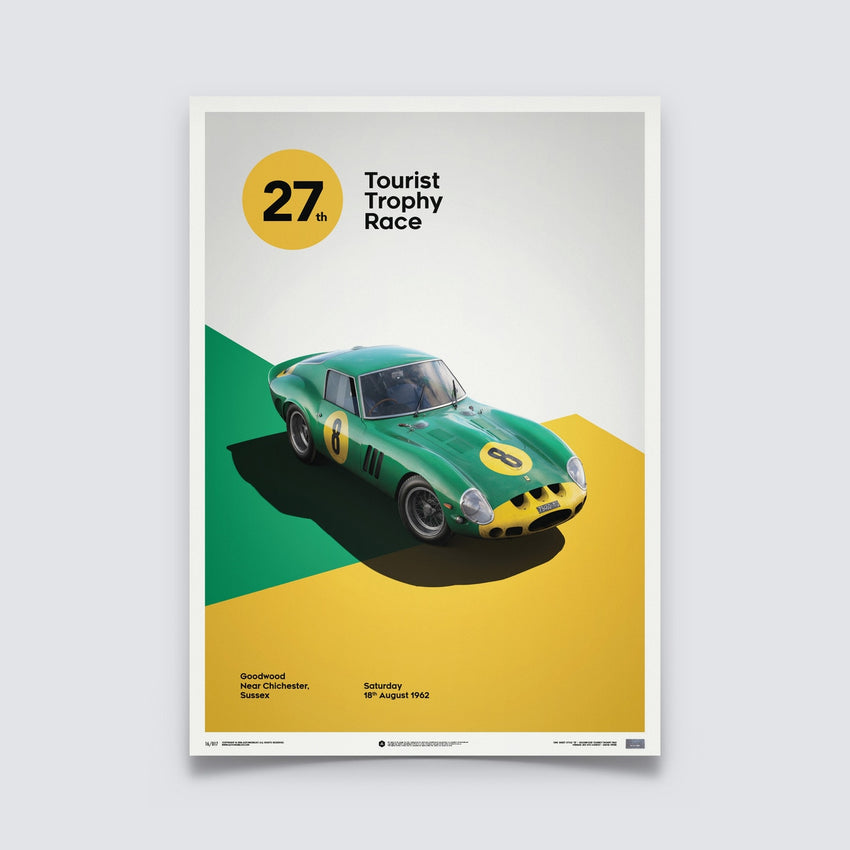 AUTOMOBILIST - FERRARI 250 GTO - GREEN - GOODWOOD TT - 1962 - LIMITED POSTER