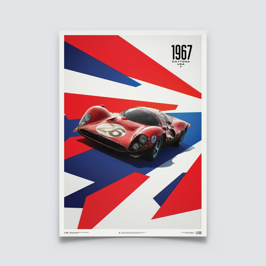 AUTOMOBILIST - FERRARI 412P - RED - 24 HOURS OF DAYTONA - 1967 - LIMITED POSTER