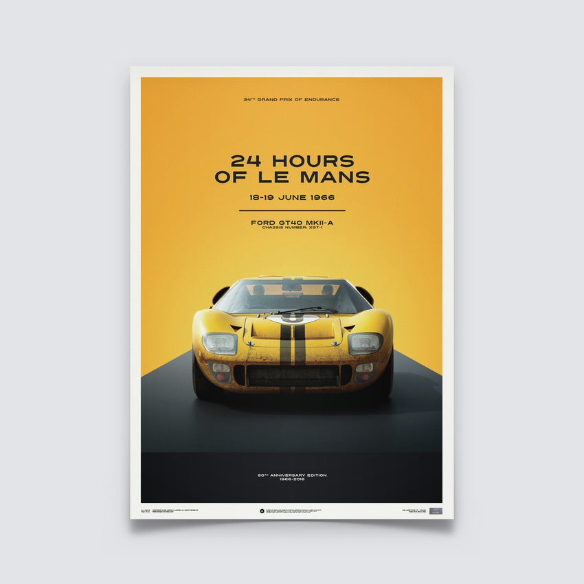 AUTOMOBILIST - FORD GT40 - YELLOW - 24H LE MANS - 1966 - LIMITED POSTER