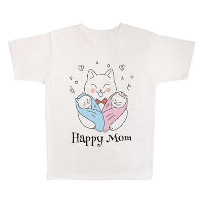 Happy Mom, 100% Polyester Adult Shirt