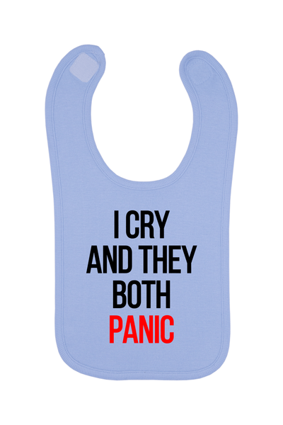 I Cry And They Both Panic Baby Bib, 0-24 Months
