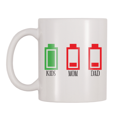 Kids Full Battery, Parents Empty Battery 11oz Coffee Mug