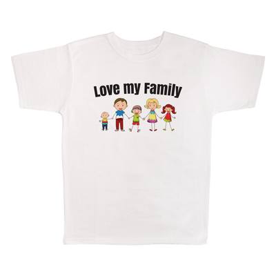 I Love My Family, 100% Polyester Adult Shirt