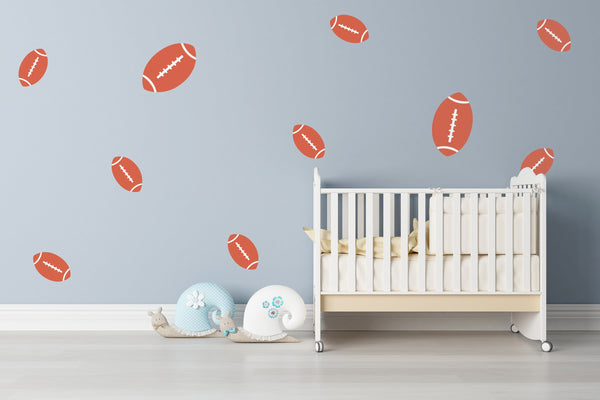 American Football Nursery Wall Art - Vinyl Wall Decals For Baby Boy And Baby Girl Rooms