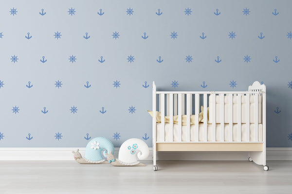 Anchor Nautical Nursery Wall Art - Vinyl Wall Decals For Baby Boy And Baby Girl Rooms