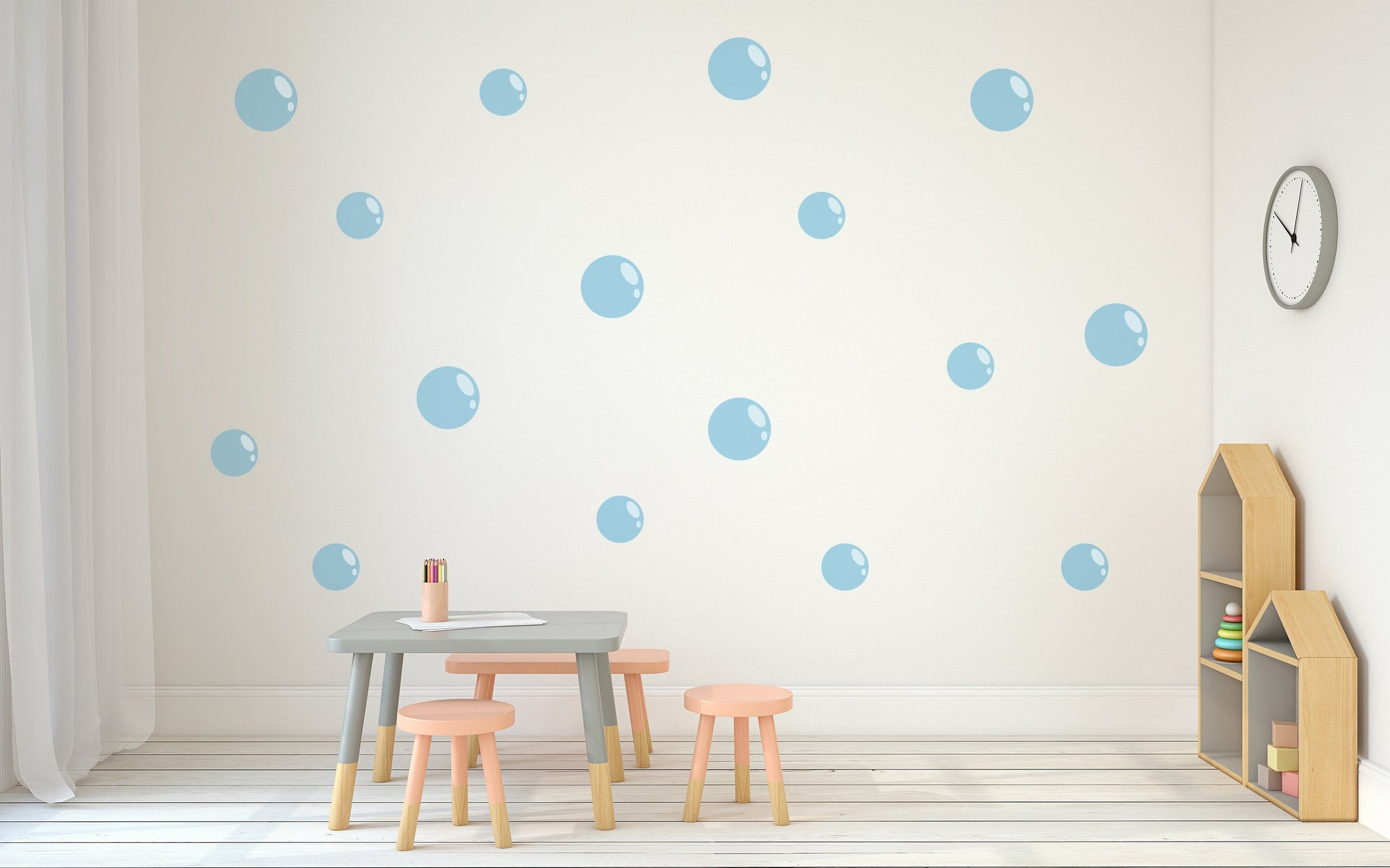 Bubbles Nursery Wall Art - Vinyl Wall Decals For Nurseries, Children's Rooms, And Home Decor