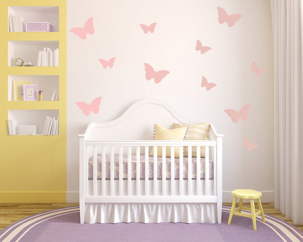 Butterflies Nursery Wall Art - Vinyl Wall Decals For Baby Boy And Baby Girl Rooms