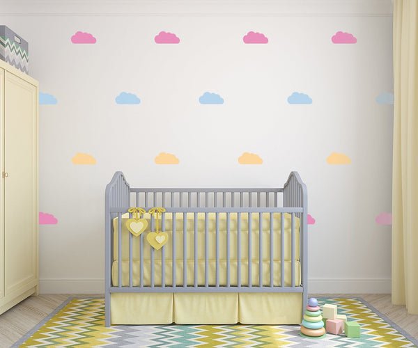 Assorted Clouds Wall Art - Vinyl Wall Decals For Baby Boy And Baby Girl Rooms