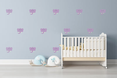 Elephant Theme Nursery Wall Art - Cute Wildlife Safari Elephant Decals For Baby Boy And Baby Girl Rooms