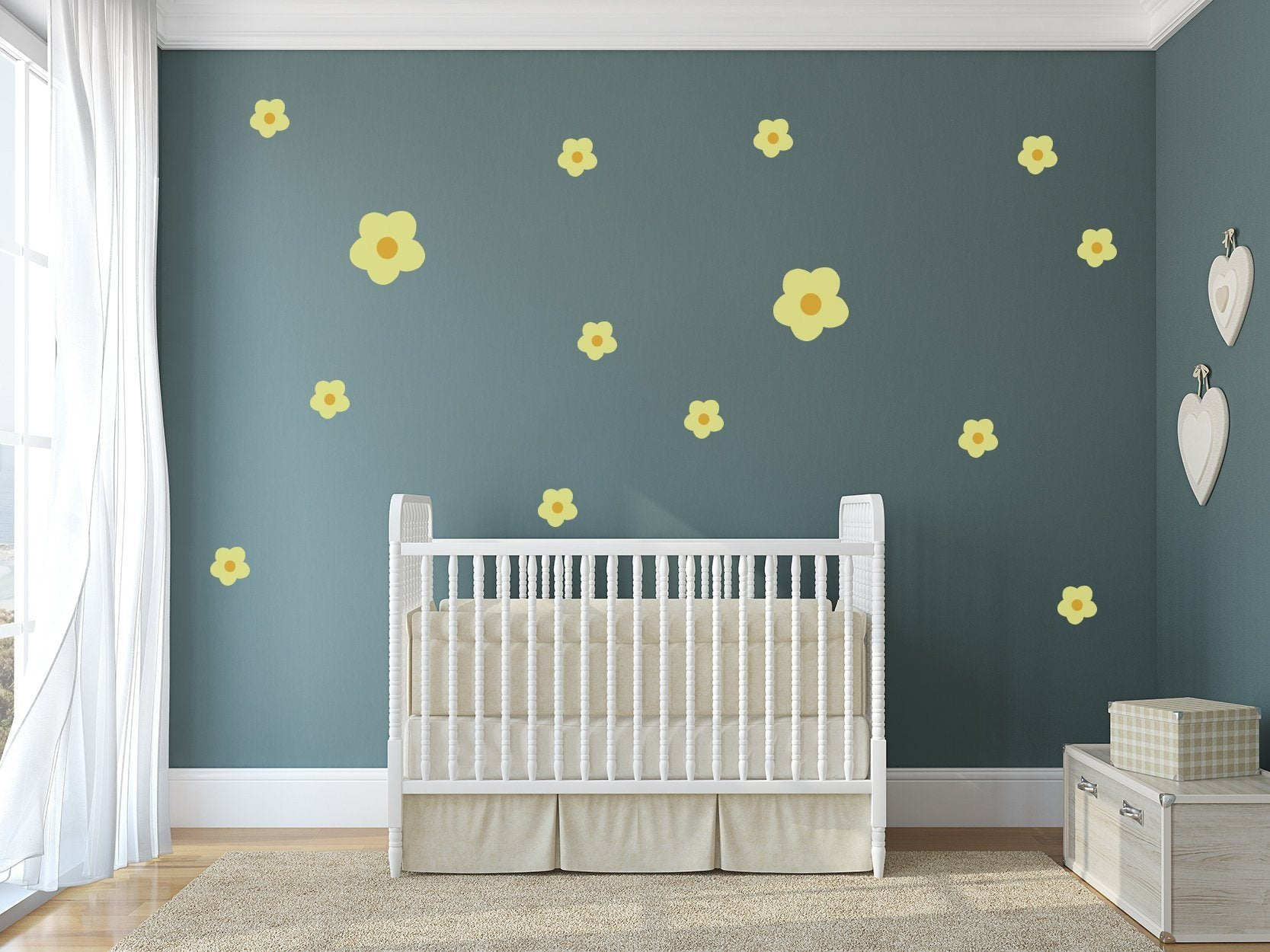 Flower Theme Nursery Wall Art - Cute Nature Flower Decals For Baby Boy And Baby Girl Rooms