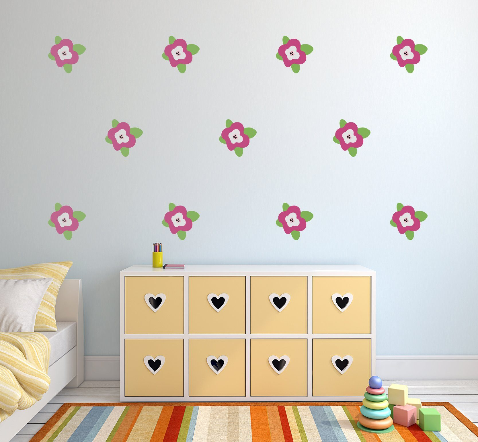 Flower Wall Decals - Floral Nursery Wall Art - Garden Theme Stickers For Baby Boy And Baby Girl Rooms