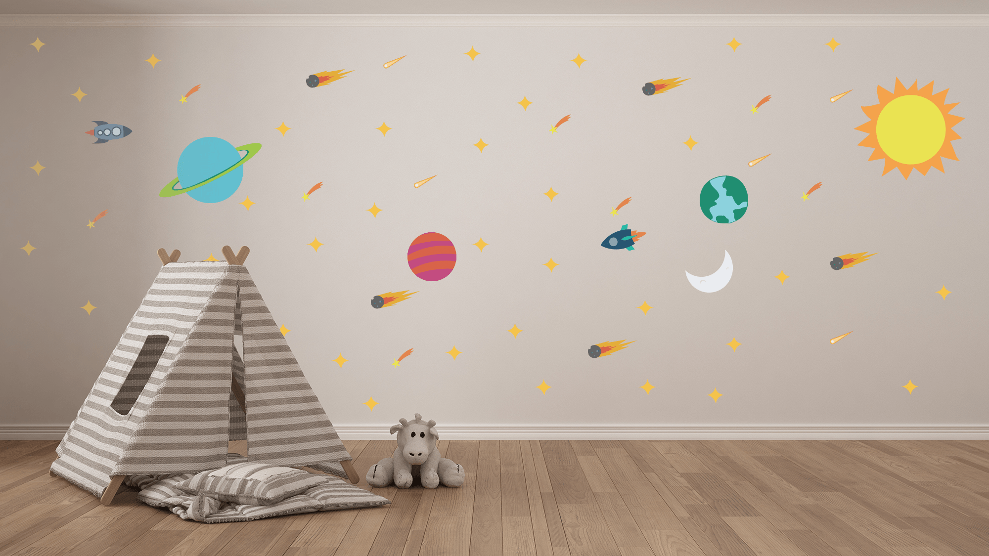 Solar System Wall Art - Vinyl Space, Planets, Galaxy Wall Decals For Nurseries, Children's Rooms, And Home Decor