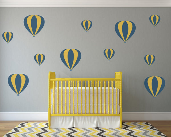 Striped Hot Air Balloons Nursery Wall Art - Vinyl Wall Decals For Baby Boy And Baby Girl Rooms
