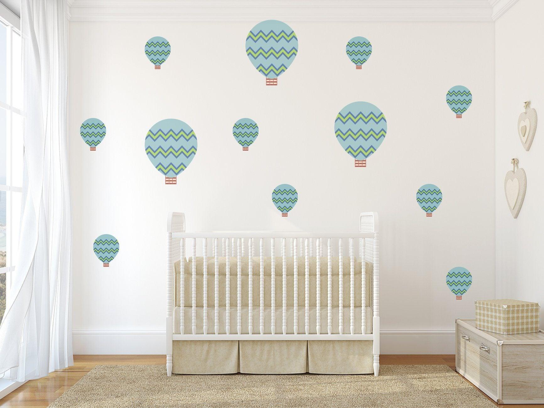Zig Zag Hot Air Balloons Nursery Wall Art - Vinyl Wall Decals For Nurseries, Children's Rooms, And Home Decor