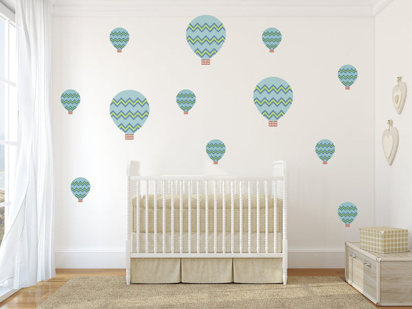 Zig Zag Hot Air Balloons Nursery Wall Art - Vinyl Wall Decals For Baby Boy And Baby Girl Rooms