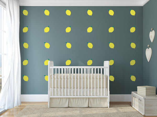 Lemon Nursery Wall Art -  Food Theme Vinyl Wall Decals For Baby Boy And Baby Girl Rooms