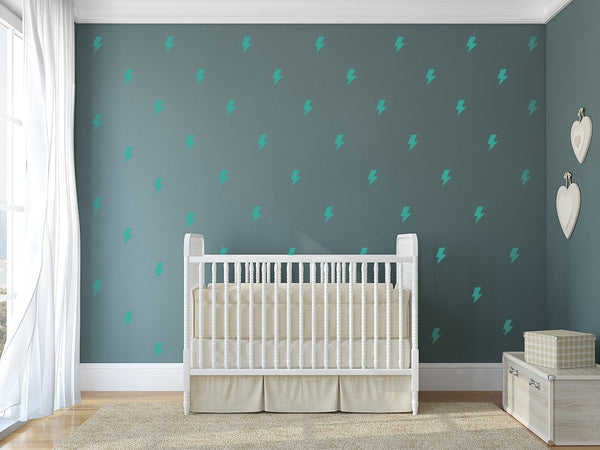 Lightning Bolt Nursery Wall Art - Vinyl Wall Decals For Baby Boy And Baby Girl Rooms