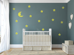 Moon And Stars - Night Sky Decals For Baby Boy And Baby Girl Rooms