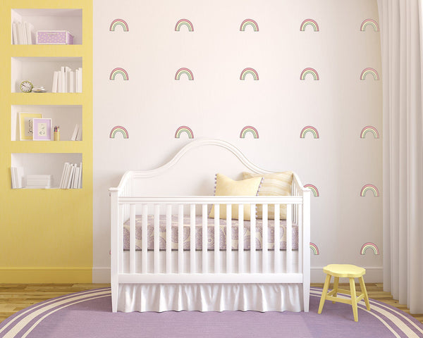 Rainbow Hand-Drawn Nursery Wall Art - Vinyl Wall Decals For Baby Boy And Baby Girl Rooms
