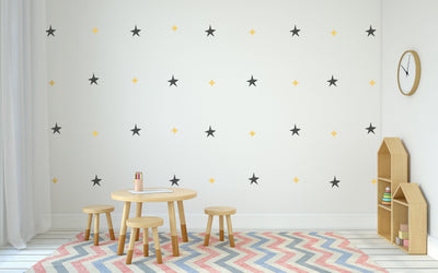 Star Pattern Nursery Wall Art - Vinyl Wall Decals For Nurseries, Children's Rooms, And Home Decor