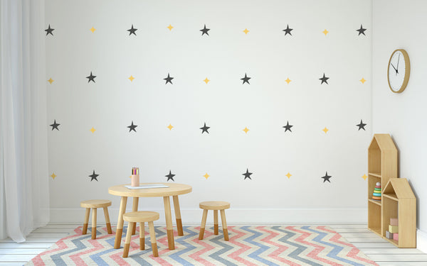 Star Pattern Nursery Wall Art - Vinyl Wall Decals For Baby Boy And Baby Girl Rooms