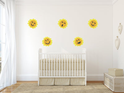 Happy Smiling Suns Nursery Wall Art - Vinyl Wall Decals For Nurseries, Children's Rooms, And Home Decor