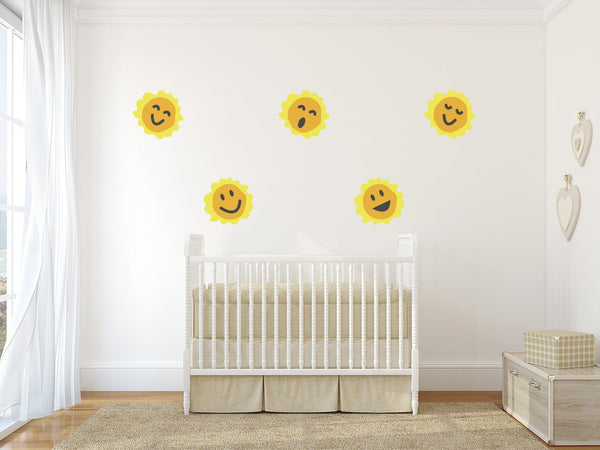 Happy Smiling Suns Nursery Wall Art - Vinyl Wall Decals For Baby Boy And Baby Girl Rooms
