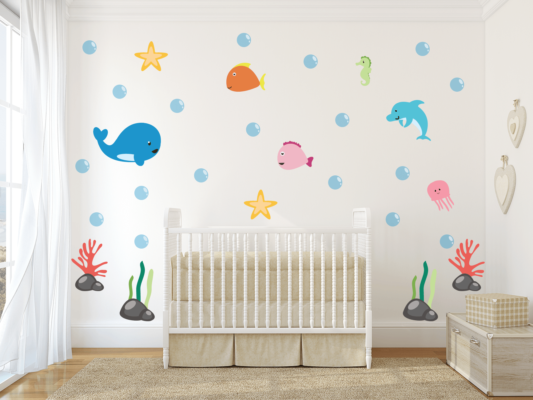 Under The Sea Theme Nursery Wall Art - Ocean Life Vinyl Wall Decals Fo - Kinacle