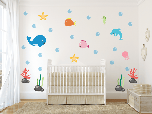 Under The Sea Theme Nursery Wall Art - Ocean Life Vinyl Wall Decals For Baby Boy And Baby Girl Rooms