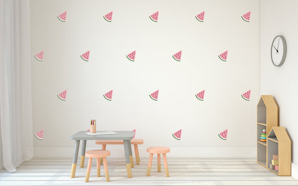 Watermelon Pattern Nursery Wall Art -  Food Theme Vinyl Wall Decals For Baby Boy And Baby Girl Rooms