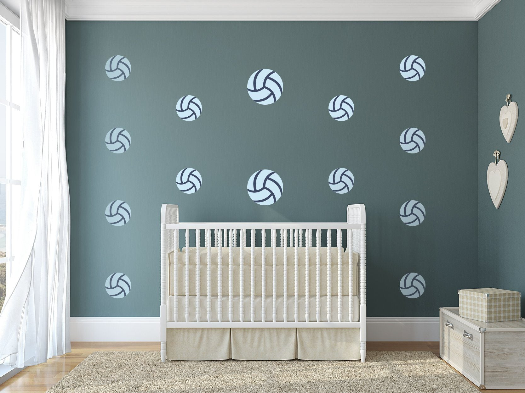 Volleyball Nursery Wall Art -  Sports Theme Vinyl Wall Decals For Nurseries, Children's Rooms, And Home Decor