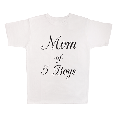 Mom Of 5 Boys, 100% Polyester Adult Shirt