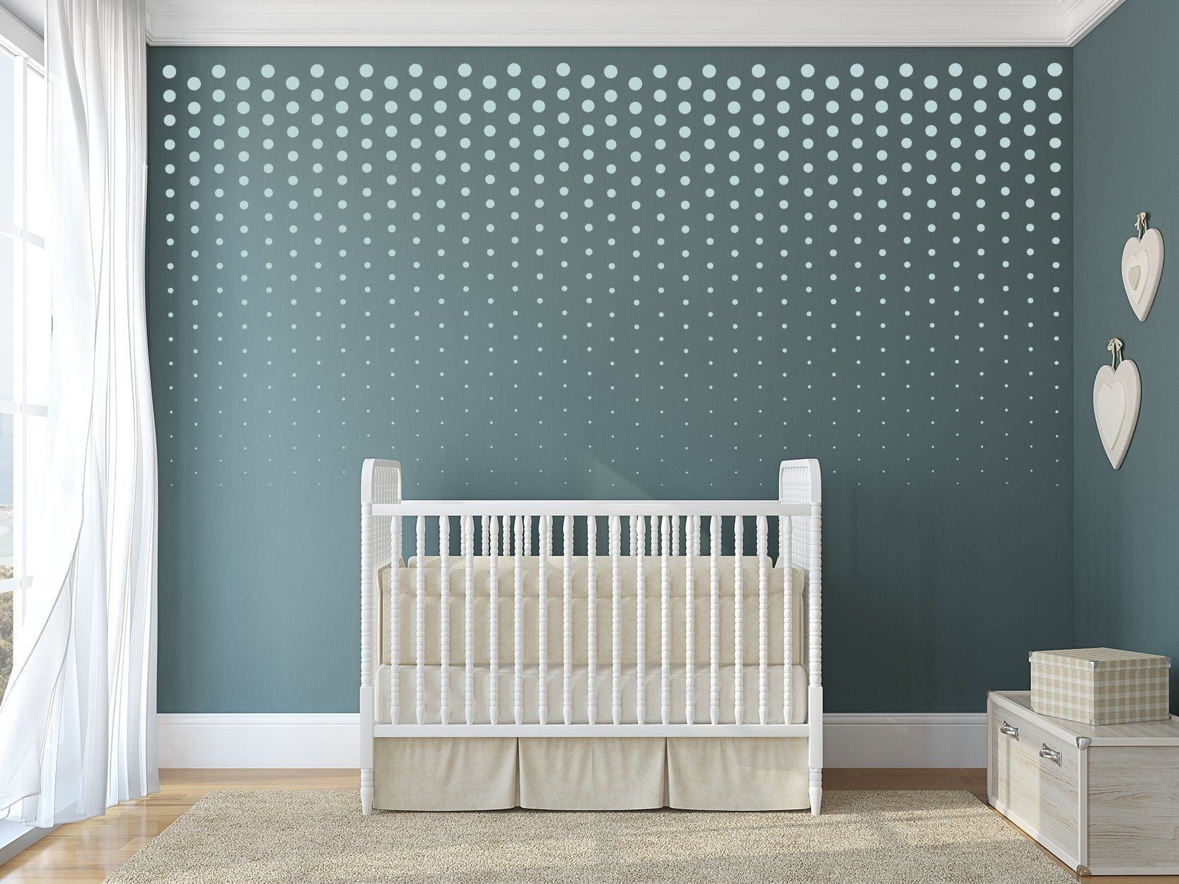 Fading Polka Dot Baby Nursery Wall Art - Vinyl Wall Decals For Nurseries, Children's Rooms, And Home Decor