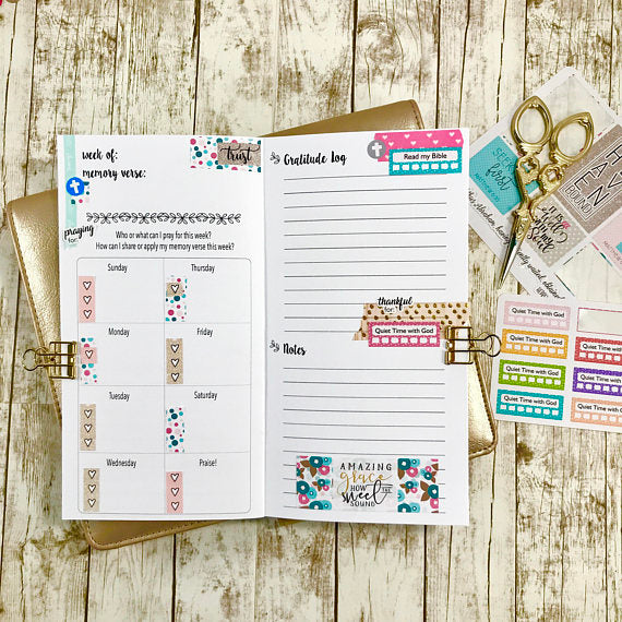 standard size faith TN insert decorated with planner stickers