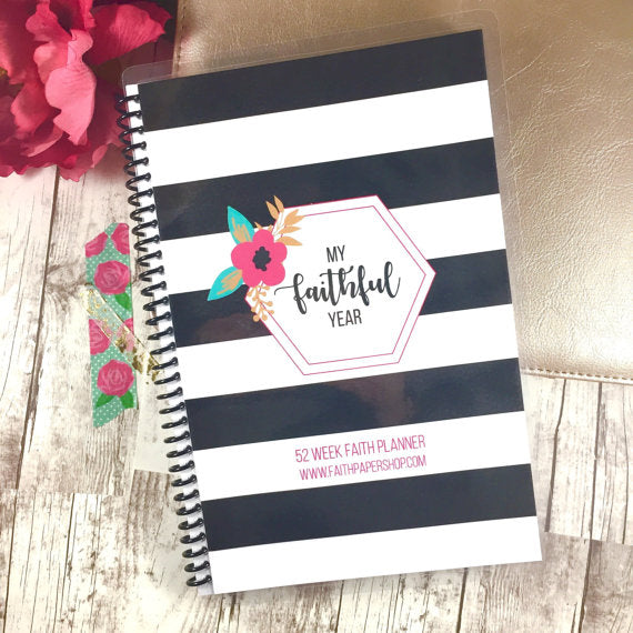Faith Planner - Weekly Prayer and Gratitude Journal - Striped Floral - Faith Paper Shop