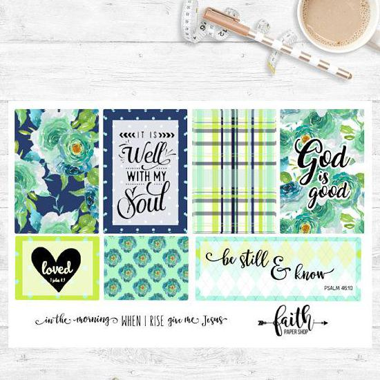 Faith Stickers - Aqua Blooms