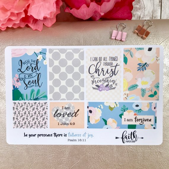Faith Stickers - Sweet Blue Floral
