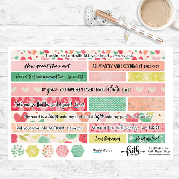 Washi Words - Scripture Stickers - Hearts - Faith Paper Shop