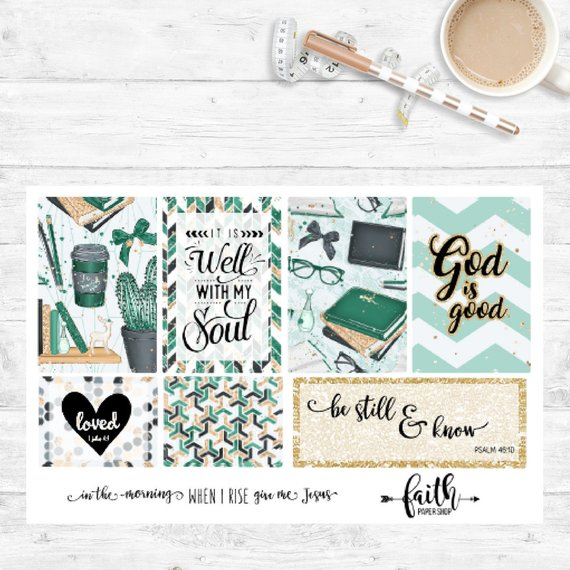 Faith Stickers - Glam Green