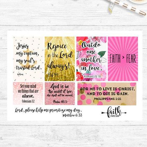 Faith Stickers - Pink Boxes