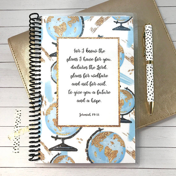 Custom Christian Journal - Watercolor Globes - Faith Paper Shop
