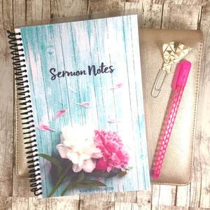 ladies sermon notes journal with pink flowers.  Faith Paper Shop