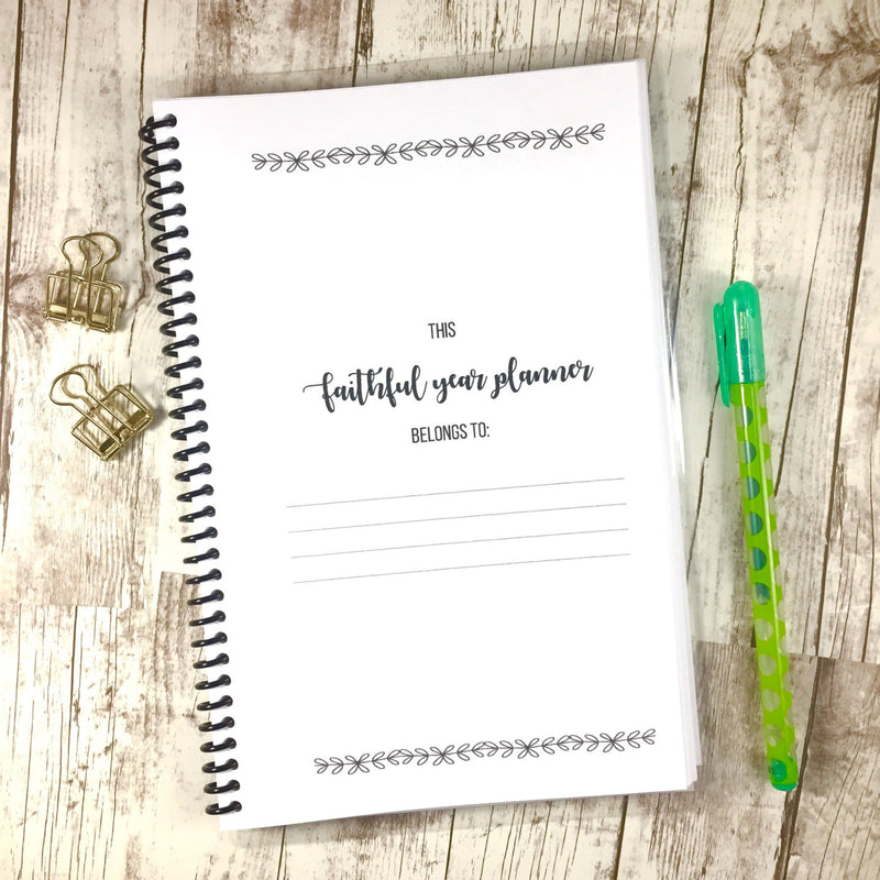 Faith Planner - Bible Study and Prayer Journal - Aqua Peony - Faith Paper Shop