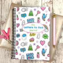girls prayer journal with trendy patches on front.  faith paper shop