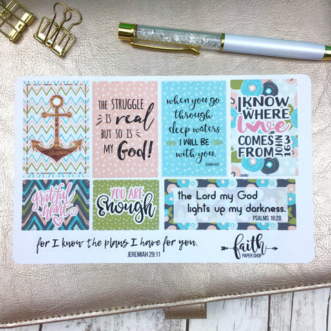Faith Stickers - Aqua Anchors