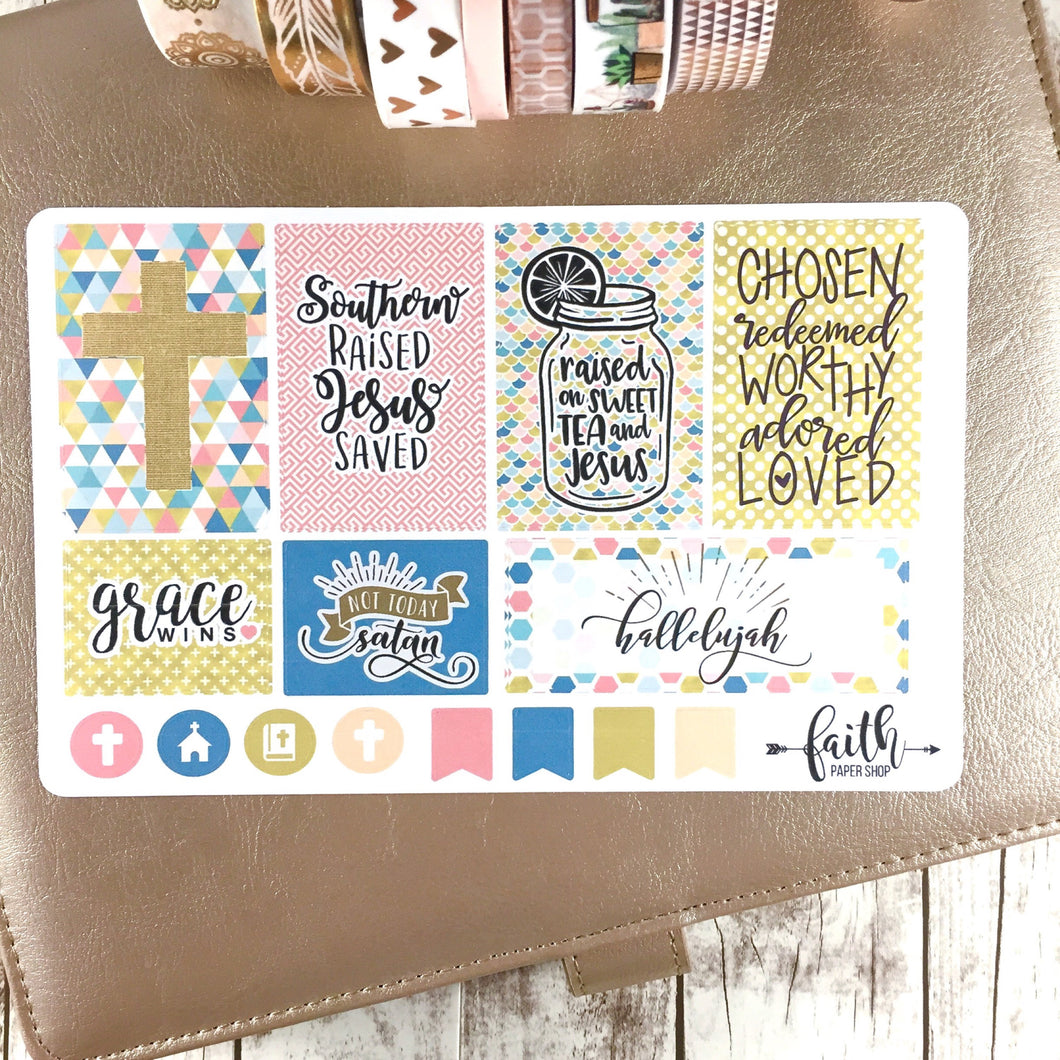 gold and pink scripture planner stickers.  faith paper shop