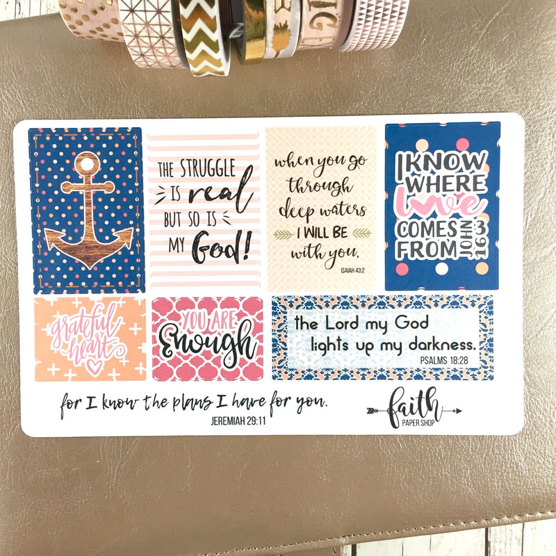 Faith Stickers - Navy/Coral - Faith Paper Shop