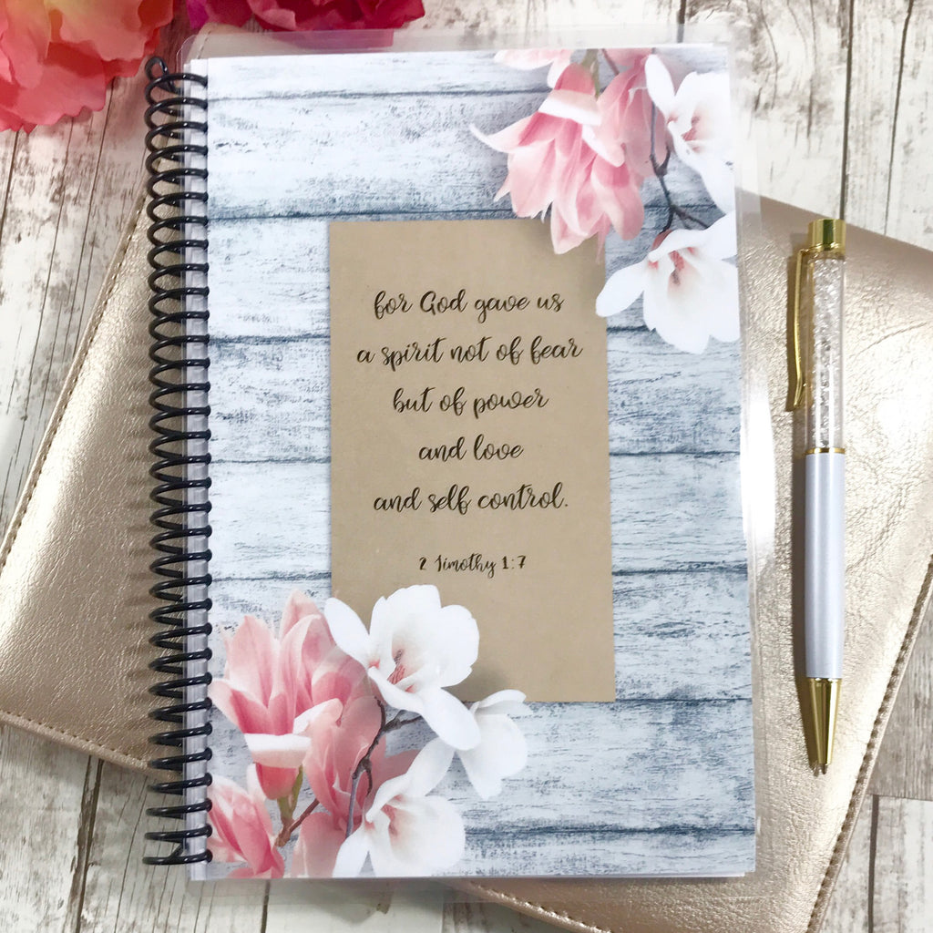 Custom Christian Journal - Gray Floral - Faith Paper Shop