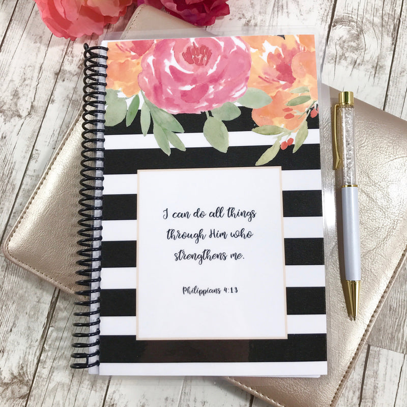 Custom Christian Journal - Floral Stripe - Faith Paper Shop